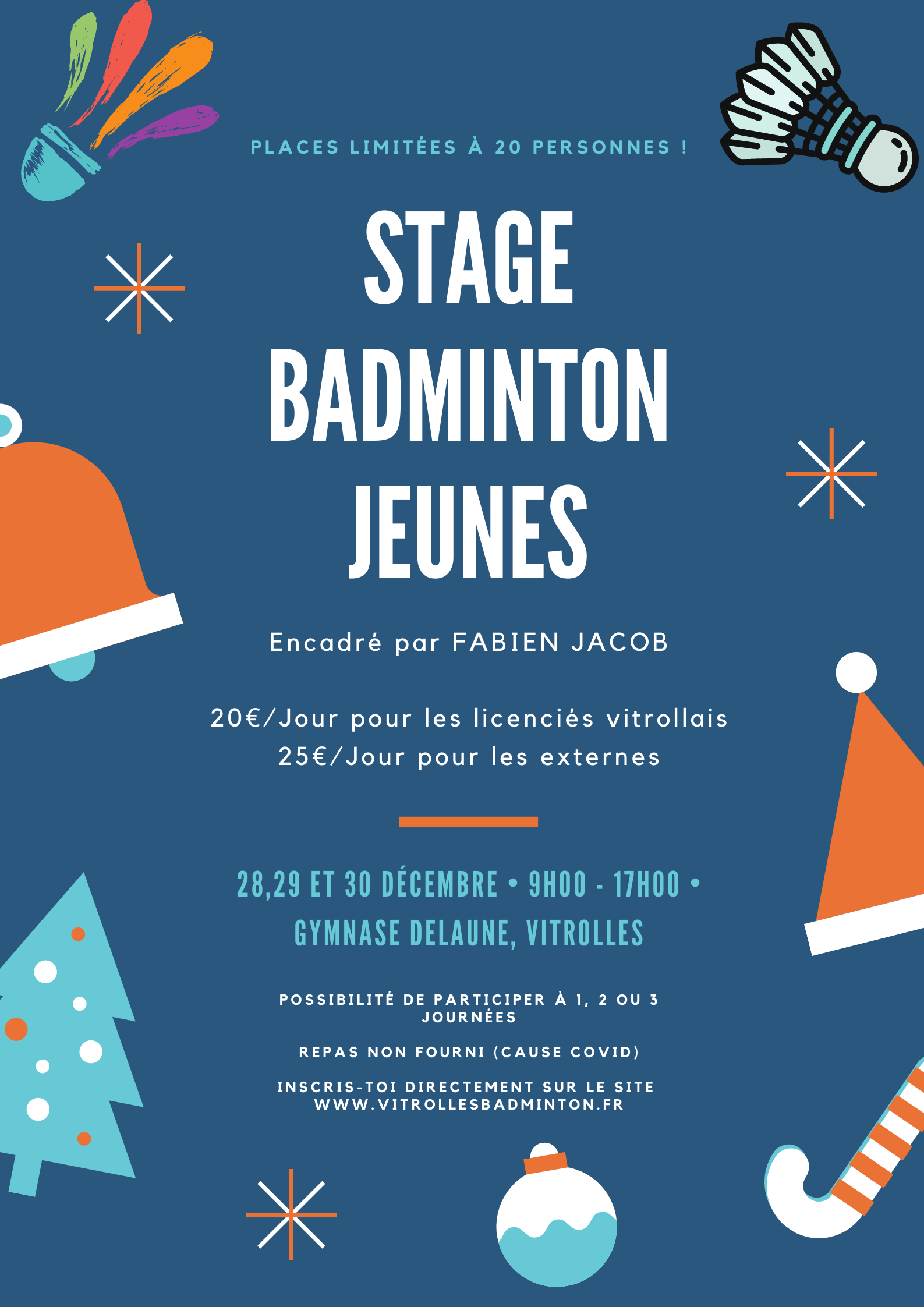 Stage de noel jeunes 2020 vitrolles badminton